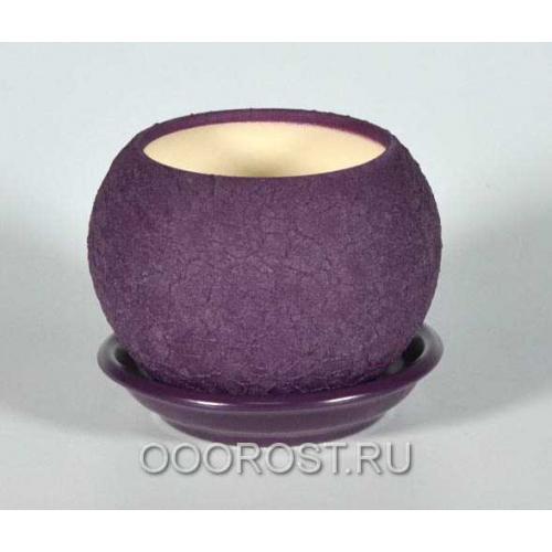 Керамический горшок Шар №3 шелк фиолет 0,4л d11см