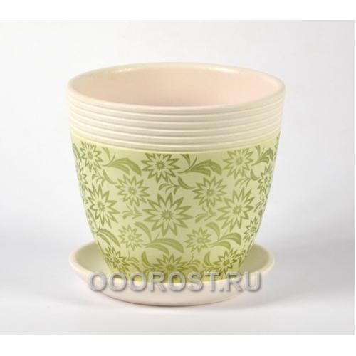 Горшок для цветов Астра зеленый крокус №4  d21см, 4,2л