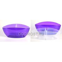 Кашпо со вставкой Орхидея 32*14 фиолетово-прозрачное (высота 15см)