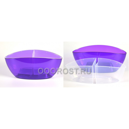 Кашпо Орхидея со вставкой d32см, h14см фиолетово-прозрачное высота 15см