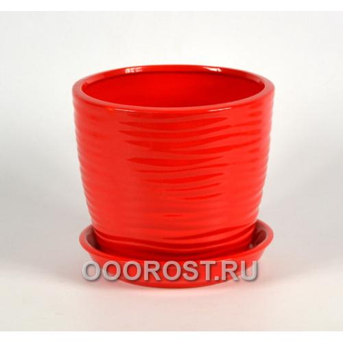 Горшок Грация-Волна №3 (глянец красный) 2,2л, d18, h15см