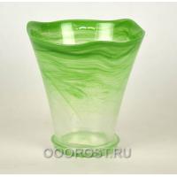 Горшок стеклянный Кристина большой Зеленый d19см, h18-20см с поддоном