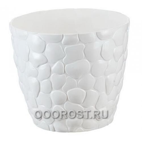 Кашпо Камни с поддоном D15см 1.4л белый