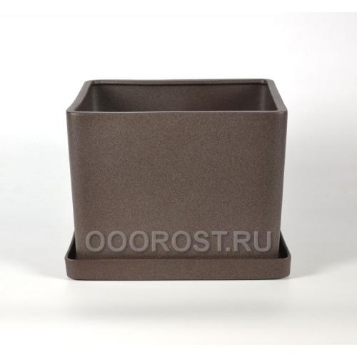Горшок Квадрат №3 (крошка шоколад) 3л, d16см, h12см