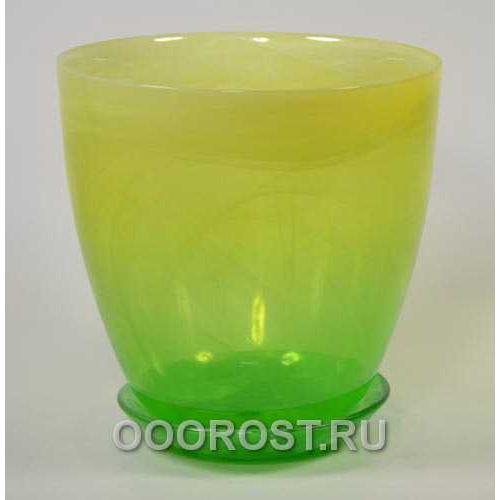 Горшок стеклянный №5 с поддоном крашеный Желто-зелен