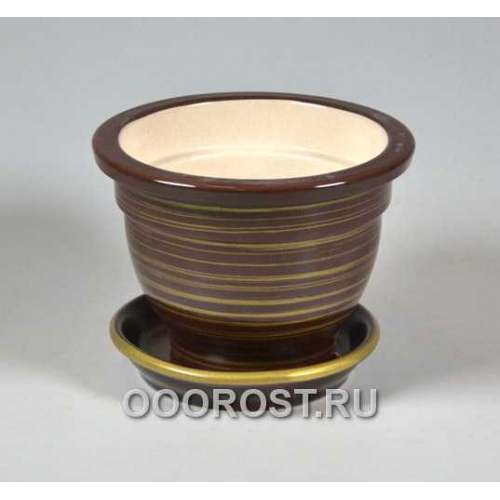 Горшок Фиалочница 0,5л (глянец Шоколад-Золото)