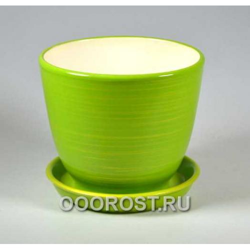 Горшок Кедр №2 (глянец салат-золото) 2,2л d17см