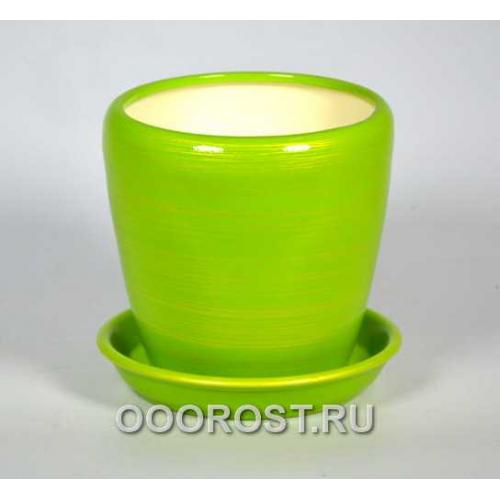 Горшок Грация №4 (глянец салат-золото) 1,2л d13,5см