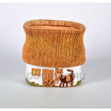 Керамическое кашпо Домик в деревне 3л с коровой и телёнком h18см, d19*16см