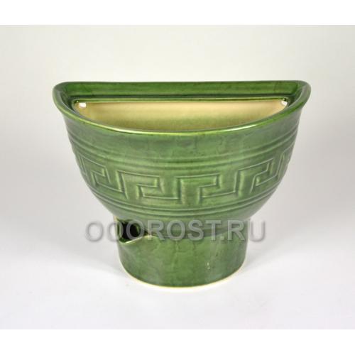 Горшок Полусфера настенный (зеленый) 1,1л, d21*10,5см, h17см