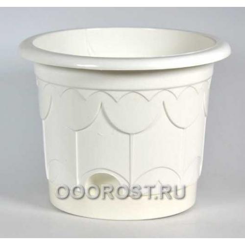 Горшок Тюльпан d13.5см белый с поддоном
