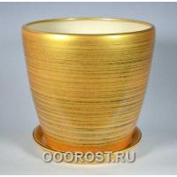 Керамический горшок Грация №0 глянец золото-черный 30л, d40см, h39см