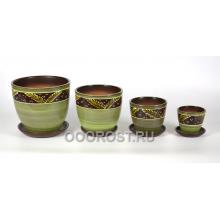Комплект из 4 горшков Папоротник зеленый 5л, 2.5л, 1л, 0,4л
