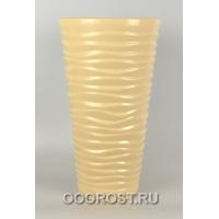 Керамическое кашпо Цилиндр-Волна глянец бежевый h50см,d28см