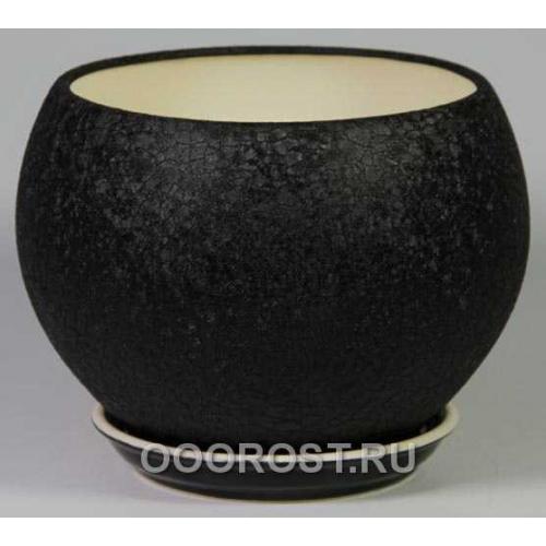 Горшок Шар №1  (шелк черный)  4,1л  d23см