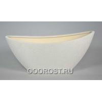 Керамическое кашпо Лодочка шелк белый 2.5л, L28см