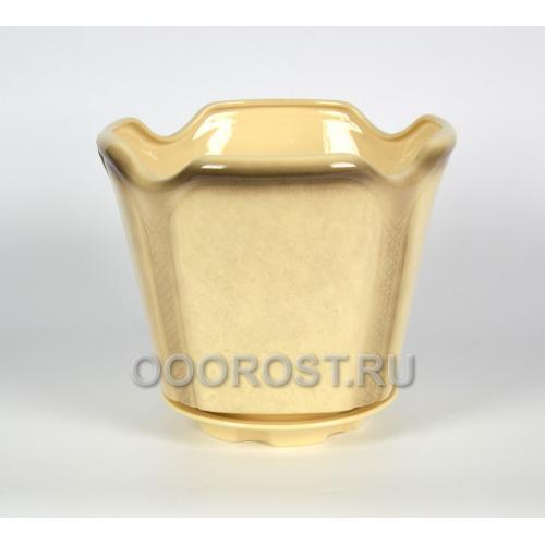 Керамическое кашпо Готика №1 белое 7.1л, d28см, h25см