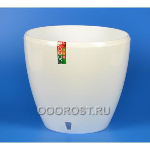 Горшок ДЕКО-ТВИН 9л, Белый, d26.5см, h23.5см (с окошком)