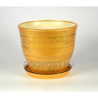 Горшок Флорис №2 (золото черный) 5,5л, d23см, h20см