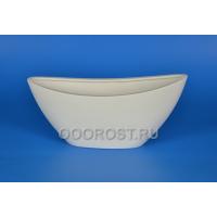 Керамическое кашпо Лодочка крошка белый 2.5л, L28см