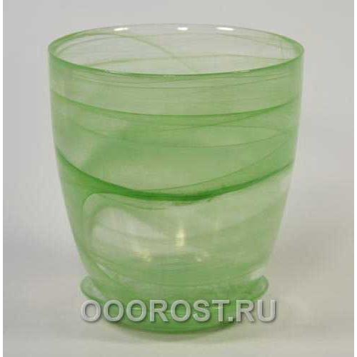 Горшок стеклянный №4 с поддоном Зеленый