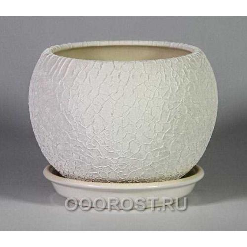 Горшок Шар №2  (шелк белый)   1,4л  d16см