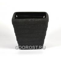 Керамическое кашпо Квадрат-Волна №3 шелк черный d21см, h19см