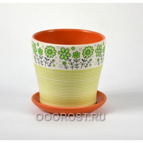 Горшок для цветов Лето зеленый тополь №2  d14см, 1,1л