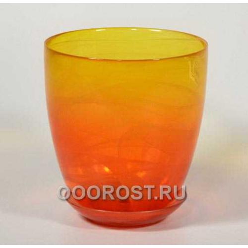 Горшок стеклянный №4 с поддоном крашеный Желто-оранж