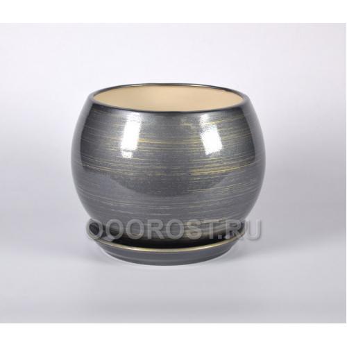 Горшок Шар 9л (глянец графит-золото) d27см, h23см