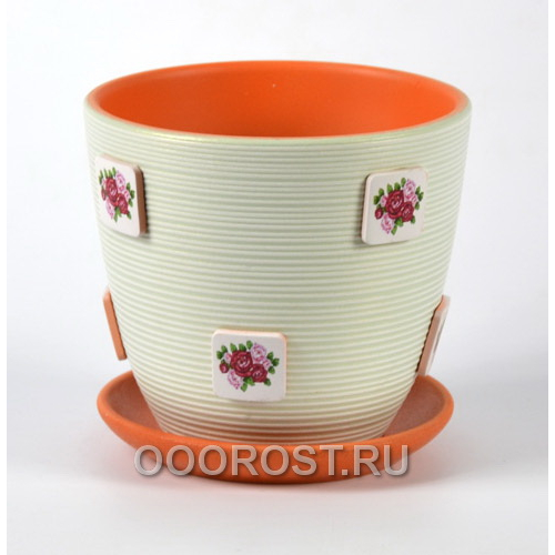 Горшок для цветов Букетик светло-зеленый крокус №4  d21см, 4,2л