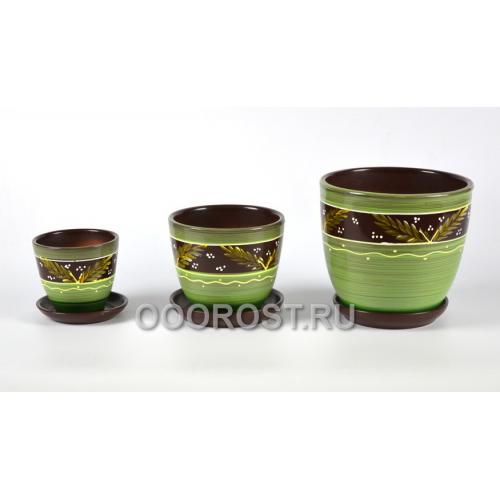 Комплект из 3 горшков Тюльпан-Папоротник    2,5л, 1л, 0,4л