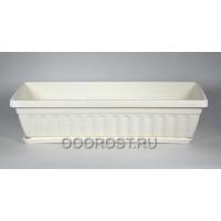 Ящик балконный  белый с поддоном, L50см