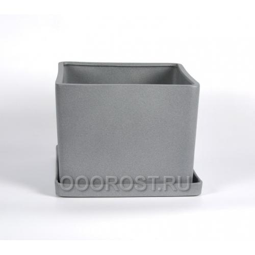 Горшок Квадрат №3 (крошка металлик) 3л, d16см, h12см