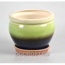 Горшок Азия 1,4л зелено-синий d14см, h12см