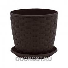 Горшок Ротанг d20 темно-коричневый с под  h18см  4,1л
