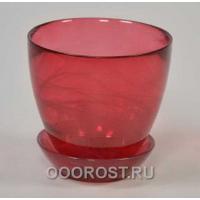 Стеклянный горшок №1 с поддоном крашеный Рубин