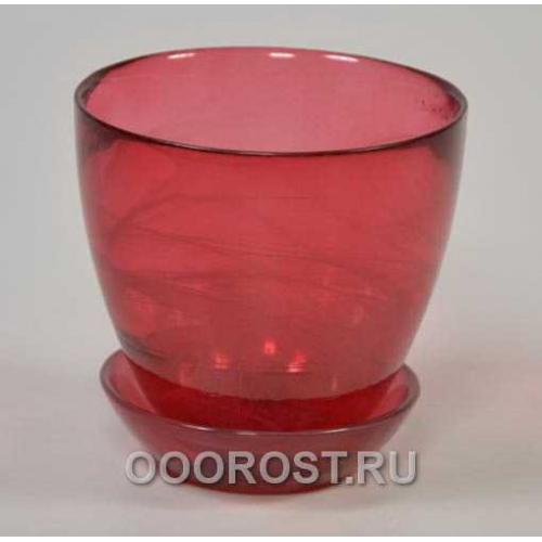 Горшок стеклянный №1 с поддоном крашеный Рубин