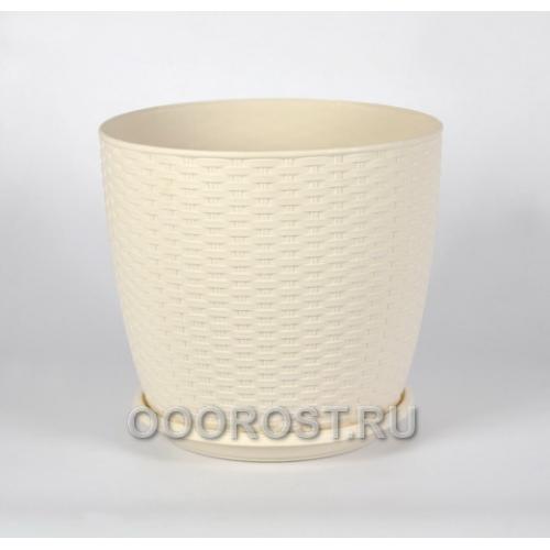 Горшок Ротанг d20 белая роза с под  h18см   4,1л