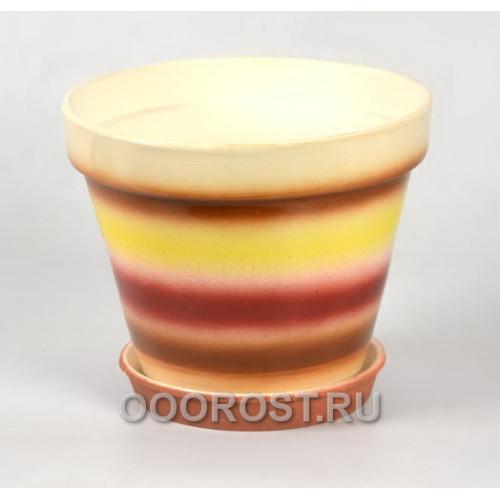 Горшок Конус 4л полосатый желто-бордовый d20см, h16см