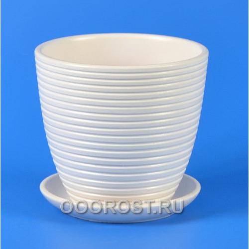 Горшок для цветов Бриз белый крокус №4  d21см, 4,2л