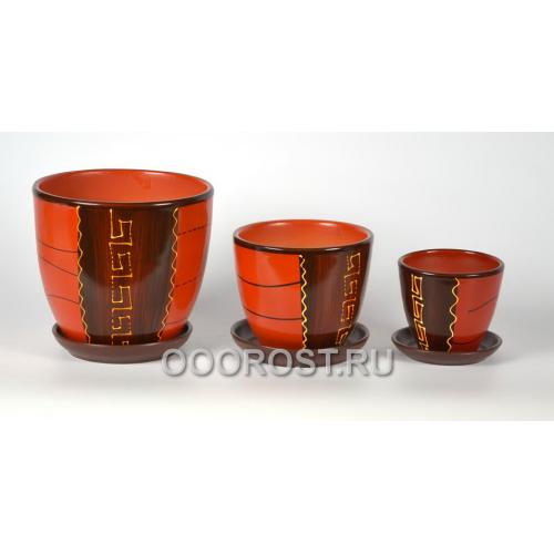 Комплект из 3 горшков Тюльпан-Греческий     2,5л, 1л, 0,4л