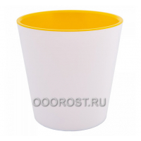 Кашпо Деко со вставкой d16см, h15,5см бело-желтое