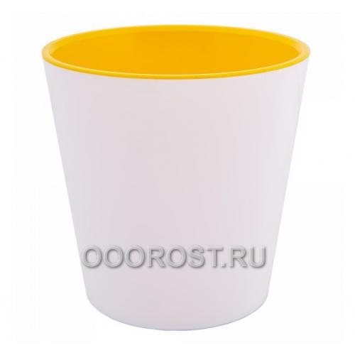 Кашпо Деко со вставкой d16см, h15.5см бело-желтое