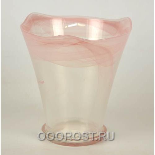 Горшок стеклянный Кристина большой Розовый d19см, h18-20см с поддоном