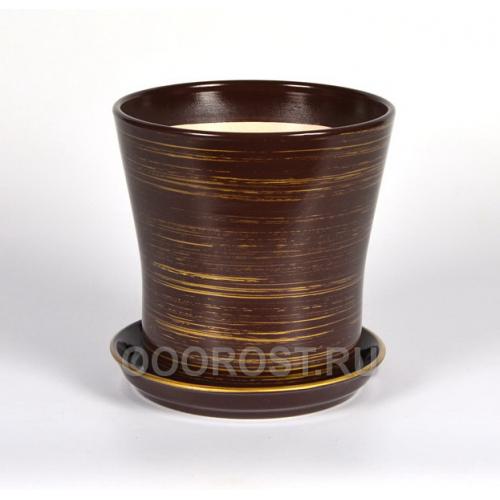 Горшок Вуаль 1,0л (шоколад-золото) d14,5, h14см