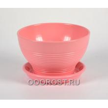 Горшок Бонсайница Резной розовый  d17см, h10см