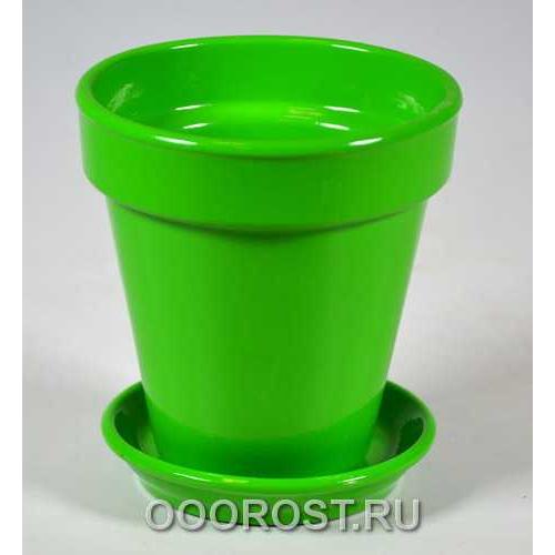 Керамический горшок Наперсток Глянец зеленый d12см, h12,5см, 0,6л
