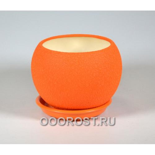 Горшок Шар №2  (шелк оранж)   1,4л  d16см