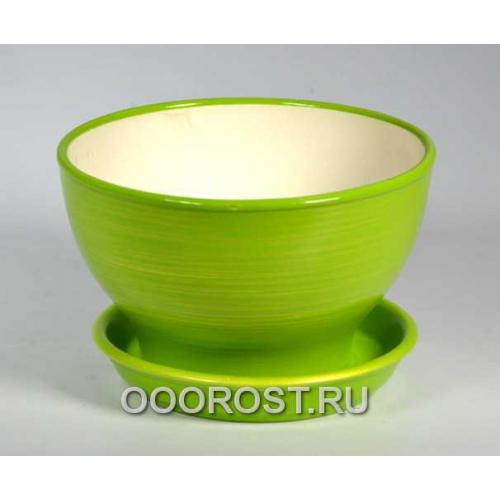 Горшок Бонсайница глянец салатн-золот     d17см, h10см